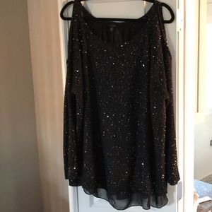 Jessica Simpson cold shoulder sparkle sweater